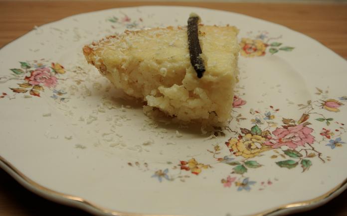 Rijstpuddingtaartje met witte chocolade & vanille