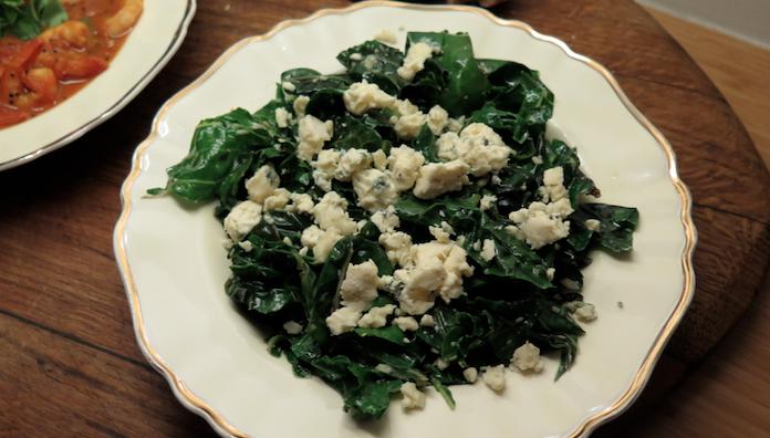 Romige spinazie met blauwe kaas