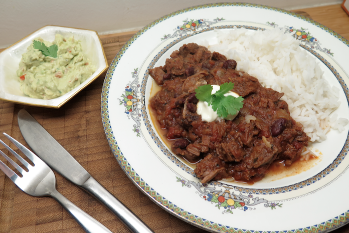 Chili con carne a la Lot met rijst en guacamole