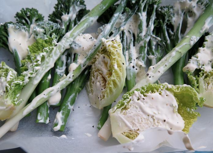 Gestoomde groenten met crème fraîche en feta